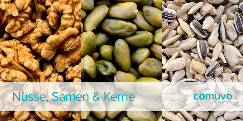 comuvo Powerfood: Nüsse, Kerne und Samen – Walnüsse, Pistazien und Sonnenblumenkerne
